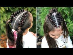 Peinado para niñas con ligas de colores y coleta|Peinados fáciles y rápidos de hacer para niña|LPH - YouTube