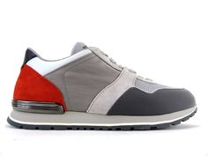 Sneakers Tod s - Todrun Access en nubuck et toile gris, nubuck rouge et cuir  noir et blanc e9192dfeac76