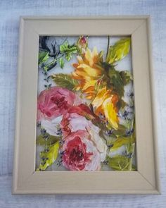 Wall decoration in frame. Painted with Annie Sloan Chalkpaint Country Grey, and decorated with IOD floral transfer