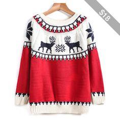 SheIn(sheinside) Red Long Sleeve Deer Print Knit Sweater