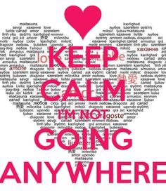 KEEP CALM I'M NOT GOING ANYWHERE!! AND THAT'S THE TRUTH FOR THIS WIFE. DIVORCE IS NEVER AN OPTION.