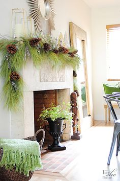 Fresh greenery is a natural way to achieve a simple, classic holiday look that can last from Thanksgiving through the New Year. Christmas Tree Box Stand, Christmas Open House, Christmas Room, Christmas Mantels, All Things Christmas, Christmas Decorations, Christmas Ideas, Merry Christmas, Decorating Your Home
