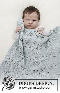 Sleepy Times - Baby blanket with lace pattern. Blanket is crocheted in DROPS Safran. - Free pattern by DROPS Design The work is crochet in DROPS saffron. Free directions from DROPS Design. Die Arbeit wird gehäkelt in DROPS Safran. Crochet Baby Blanket Beginner, Crochet Blanket Patterns, Baby Knitting Patterns, Baby Patterns, Crochet Stitches, Crochet Afghans, Free Knitting, Crotchet Baby Blanket, Bunny Blanket