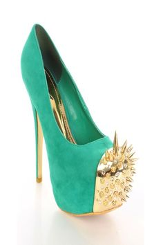 SHOE or WEAPON ??? Sea Green Gold Faux Suede Spike Studded Rhinestone Decor Round Toe Heels @ Amiclubwear