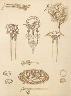 Jewelry designs by Alphonse Mucha, 1902