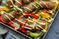 Sheet Pan Sausage & Peppers with Mustard Dressing... It's awesome and easy, just saying. Reminds me of Fenway sausages when it's all done. Ketogenic Recipes, Low Carb Recipes, Whole Food Recipes, Sausage And Peppers, Stuffed Peppers, Wheat Free Recipes, Mustard Dressing, Keto Diet For Beginners, Dressing Recipe