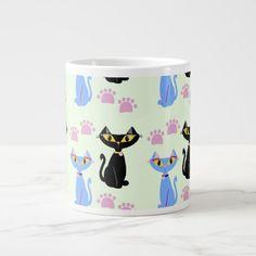 Cute cartoon cats prance on this adorable large mug. Get one today. #mug #drinkware