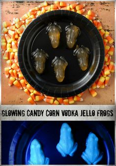 Glowing Candy Corn Vodka Jello Frogs (shots) | BoulderLocavore.com~T~ Would be fun for Halloween.