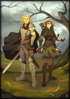 "xelgot: "" Commissioned artwork that I did of a couple of warriors named Nero and Hana, both of them are looking in the distance, for a DeviantArt customer. Support me on Patreon . Make A Character, Fantasy Character Design, Character Concept, Concept Art, Fantasy Armor, Medieval Fantasy, Fantasy Inspiration, Character Inspiration, Character Ideas"