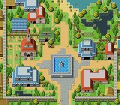 RPG RPG-maker screentshot top-down city town buildings made from parallax tileset