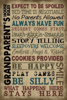 Vintage Primitive family wood sign GRANDPARENTS RULES Rustic Home wall Decor #Handmade
