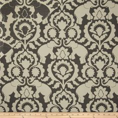 Covington Babar Elephants Gustav Jacquard Grey from @fabricdotcom  Refresh and modernize any home decor with this medium/heavyweight rayon blend jacquard fabric. Perfect fabric for revitalizing an old piece of furniture and updating it with a new look. This fabric is an appropriate weight for accent pillows, slipcovers, and upholstering furniture, headboards and ottomans.  Colors include cream and dark grey.