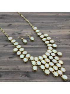 White Faceted Bead Bib Necklace and Earring Set