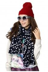#Chicwish Stars All Over Navy Scarf