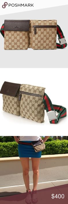 Authentic GUCCI Traveler's Touring Belt Bag Don't forget to bundle and save  A must-have if you really want to travel in style. Features two separate compartments. One with a flap and one with a zipper closure. The classic green and red web strap keeps the bag fastened securely at your waist. Flawless condition.  Gucci Bags Travel Bags