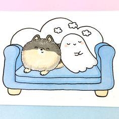 "8,493 Likes, 20 Comments - ⭐️KiraKiraDoodles (@kirakiradoodles) on Instagram: ""So comfy ☁️ • • #kawaii #spookymccute #pomeranian #comfy #fluffy #copicmarkers #cuddles #かわいい…"""