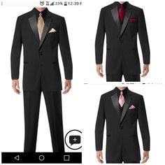 Groom in gold/champagne, bestman in wine, goomsman in rose. Only groom has colored vest. All others are black tux, vest and shirt only tie and pocket square colored. Black Suit Black Shirt, All Black Tuxedo, Tuxedo For Men, Black Suits, Rose Gold Suit, Gold Tux, Black Tux Wedding, Wedding Tuxedos, Party