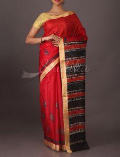 Roshini Dark Red Printed #SilkSarees with Gold Border
