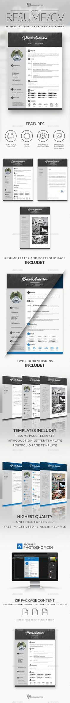 Modern Resume Bundle Print Templates - Stationery Pinterest - illustrator resume templates
