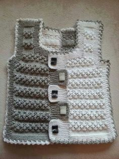 Two-tone baby vest pattern Baby Knitting Patterns, Baby Boy Knitting, Knitting For Kids, Lace Knitting, Crochet For Kids, Knitting Designs, Baby Patterns, Knitting Projects, Crochet Patterns
