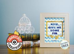 Finding Nemo Watercolor Print with Golden Decal Accent - Now, Give Me Some Fin, Dory, Disney Prints, Princesses, Quotes, Home Decor
