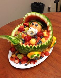 baby carriage watermelon fruit bowl | ... favourite part of the baby shower was this watermelon baby carriage