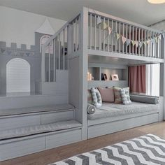 Kids Bedroom With Loft Bed And Rest Space ★ Loft bed ideas for teen girls and not only. These beds are a perfect fit for small rooms and will grant the room that particular modern touch that many are looking for. Kids Bedroom Designs, Cute Bedroom Ideas, Kids Room Design, Bed Designs, Nursery Ideas, Bedroom Loft, Baby Bedroom, Bedroom Decor, Cool Kids Rooms