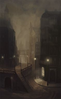Victorian London, setting of Jekyll & Hyde What does the fog hide? Victorian London, Victorian Townhouse, Victorian Corset, Modern Victorian, Victorian Homes, Victorian Fashion, Dark Fantasy, Fantasy Art, Fallen London