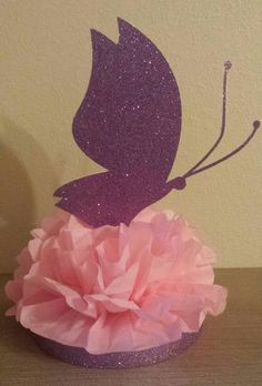 Glitter Butterfly Birthday Party table centerpiece any color combination Pink purple glittter Butterfly Birthday Party, Butterfly Baby Shower, Baby Shower Purple, Purple Birthday, Baby Girl Birthday, Purple Party, Birthday Party Table Decorations, Birthday Party Centerpieces, Birthday Party Tables