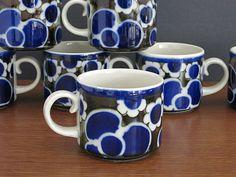 Vintage Arabia Finland Saara Cups - Arabia Saara Cups Mugs Teacups - Scandinavian - Anja Jaatinen-Winquist- Arabia Finland -  7 Available at Eight Mile Vintage on Etsy