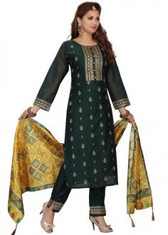 #green #embroidered #readymade #salwar #kameez #traditional #indian #salwar #suit #indianfashion #party #wear #collection #eid #2021 #ootd Readymade Salwar Kameez, Churidar, Teal Green Color, Aqua Blue, Yellow Art, Plus Size Suits, Plus Size Dresses, Pakistani Suits, Salwar Suits