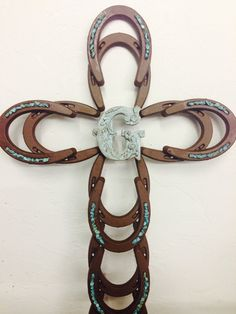 Hand Welded and Painted Horeshoe Cross With by HolyHorseshoe