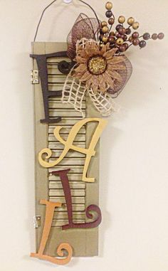 Items similar to Reclaimed Shutter Fall Wall Hanging Door Hanging on Etsy Fall Crafts, Decor Crafts, Holiday Crafts, Crafts To Make, Diy Crafts, Fall Halloween, Halloween Crafts, Shutter Projects, Fall Projects