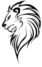 Side lion line drawing - tattoo