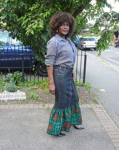 Green and Black African Wax and Denim Maxi Skirt, Long Skirt, Dashiki Skirt - Made to Order
