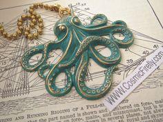 Green Octopus Fan Pull Steampunk Fan Pull by CosmicFirefly on Etsy, $16.95  Etsy.com