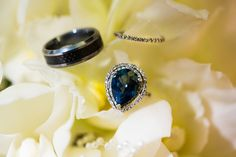 9k pear shape sapphire ring with a pavé set eternity band from Antonio Sabato Jr. and Cheryl Moana Marie's 2012 wedding which J Squared planned