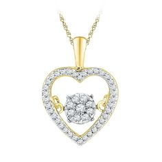 d0d6d010183a 10kt Yellow Gold Womens Round Diamond Cluster Moving Twinkle Heart Pendant  1 5 Cttw