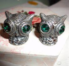Vintage Swank Pewter Colored Big Owl Head Cufflinks with Green Rhinestones