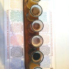 Sampler paddle at Barley and Hops in Frederick, MD. Seasonal was a hefe replacing the best saison I've ever had. Food was great too. Red Snapper fish and chips. Delightful.