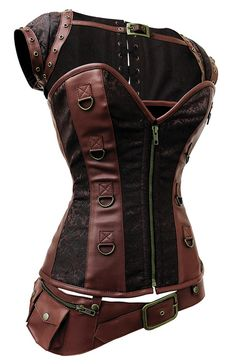 Faux leather and brocade steampunk corset