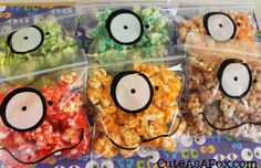 Cute As a Fox: Monster Jello Popcorn halloween parties, party treats, edible crafts, halloween party favors, food crafts, jello popcorn, craft ideas, monster mash, snack bags