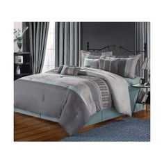 12PC CALIFORNIA KING SIZE BED IN A BAG EUPHORIA GREY/AQUA LUXURY BEDDING SET INCLUDES: 1 COMFORTER, 2 PILLOW SHAMS+2 DECORATIVE PILLOWS, 2 BONUS PILLOWS. 1 SKIRT, 1 FLAT SHEET, 1 FITTED SHEET AND 2 PILLOW CASES. SHEET SET COLORS AVAILABLE: BLACK, CHOCOLATE, IVORY, LIGHT BLUE, SAGE, SILVER GREY OR WHITE. OTHERWISE WE WILL SEND YOU THE SILVER-GREY UNLESS THERE IS A PROBLEM OR SPECIFIED. ITEM# BB2549
