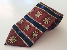 Debenhams Neck Tie Red Blue Yellow Floral Striped 100% Silk #Debenhams #NeckTie