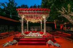 Delicate mandap with Kaleeras, crystals and exotic flowers to make the couple's memorable moment more pleasant. ❤️ #Weddings #Decor #Beauty…