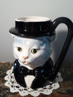 Top Hat Bow Tie Fancy Cat Mug, $12.00 #cat #hipster #funny #kitty #hat #bow #tie #fancy #animal #clothes #mug