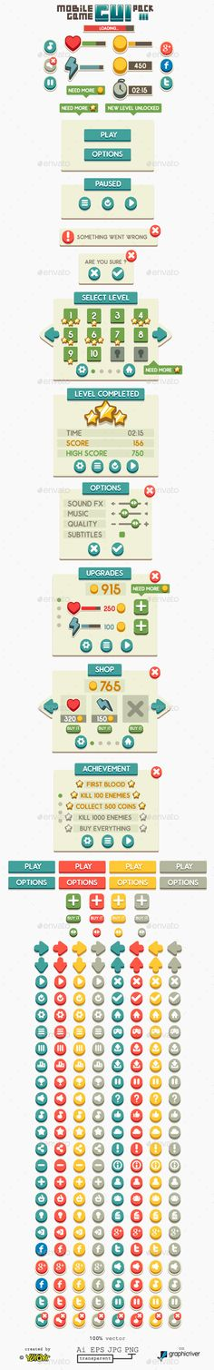 Mobile Game GUI Pack Vector EPS, AI Illustrator. Download here: https://graphicriver.net/item/mobile-game-gui-pack-3/11444877?ref=ksioks