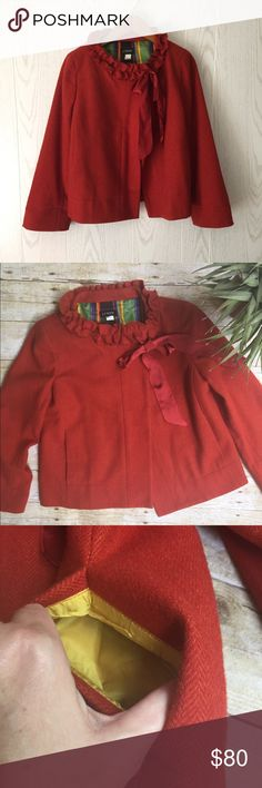 """J. Crew Wool Dress Swing Jacket Neck closure with ribbon tie • wool exterior with silk lining • 22"""" length • deep burnt orange • excellent condition!!! J. Crew Jackets & Coats"""