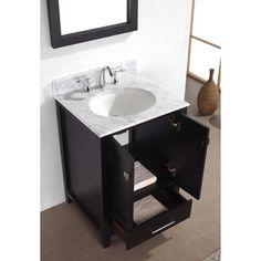 Virtu USA Caroline Avenue 24-inch White Marble Single Bathroom Vanity Set