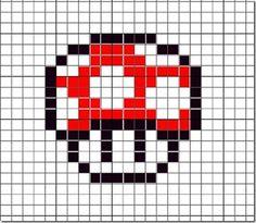 Hama, Perler. Beads, Pattern, Design, Creation, Kawaii, Cute, Mushroom, Super Mario